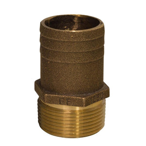 "GROCO 3/4"" NPT x 1"" Bronze Full Flow Pipe to Hose Straight Fitting [FF-750]"