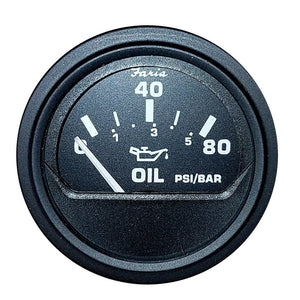 "Faria Heavy-Duty 2"" Oil Pressure Gauge (80PSI) - Black [23004]"