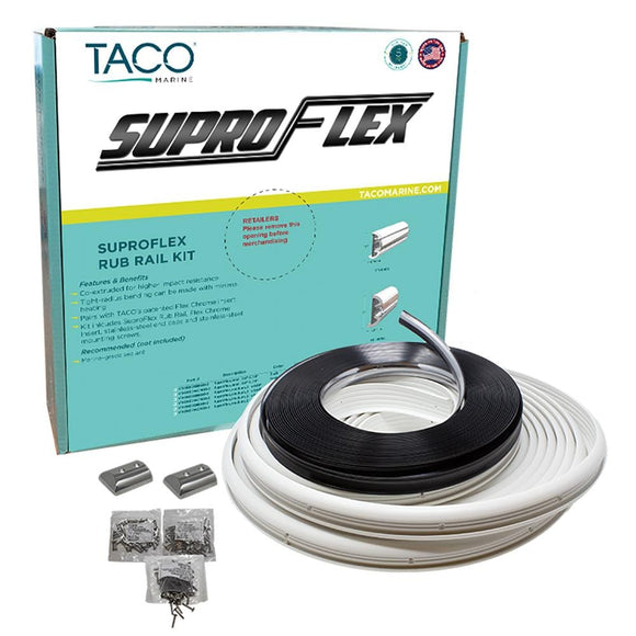 TACO SuproFlex Rub Rail Kit - White with Flex Chrome Insert - 2
