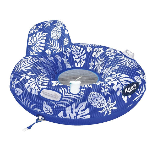 Aqua Leisure Supreme Lake Tube Hibiscus Pineapple Royal Blue w/Docking Attachment [APL20458]