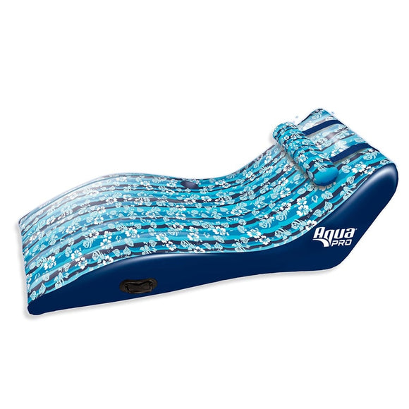 Aqua Leisure Ultra Cushioned Comfort Lounge Hawaiian Wave Print w/Adjustable Pillow [APL17014S2]