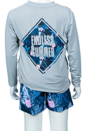 BOYS PINEAPPLE LONG SLEEVE SUNSHIRT - LT GREY