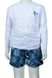 BOYS TROPICAL PINECONE LONG SLEEVE SUNSHIRT - WHITE