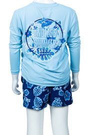 BOYS FLOWER LONG SLEEVE SUNSHIRT - LT BLUE