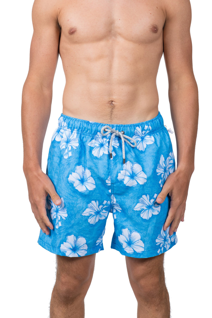 HIBISCUS FLOWER SWIM SHORTS - LT BLUE