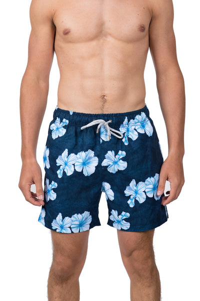 HIBISCUS FLOWER SWIM SHORTS - NAVY
