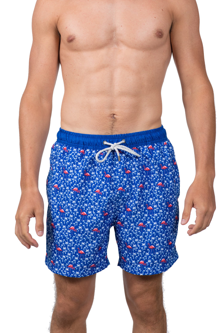LIGHTHOUSE AND PALM TREE SWIM SHORTS - ROYAL