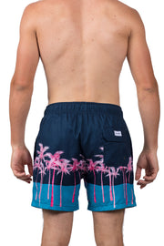 COLORBLOCK AND PALM SWIM SHORTS - NAVY
