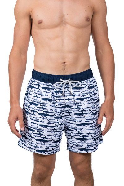 SHARK SWIM SHORTS - WHITE