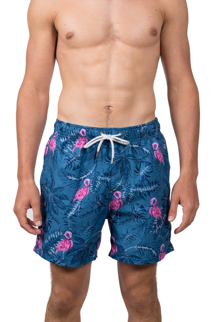 TROPICAL FLAMINGO SWIM SHORTS - DENIM