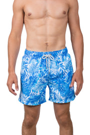 FLORAL SWIM SHORTS - BLUE