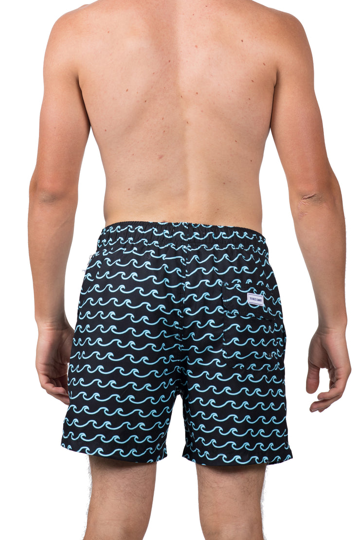 NEON WAVE SWIM SHORTS - BLACK