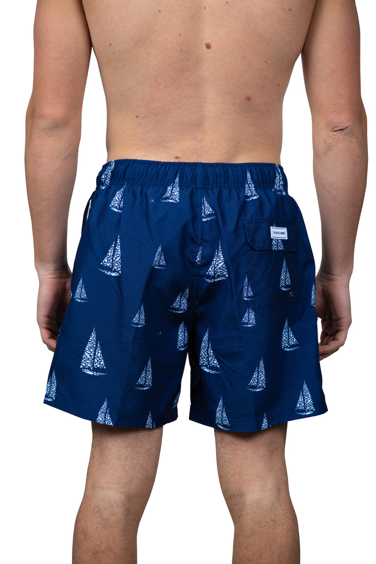 ALL OVER SAILBOAT SWIM SHORTS - NAVY
