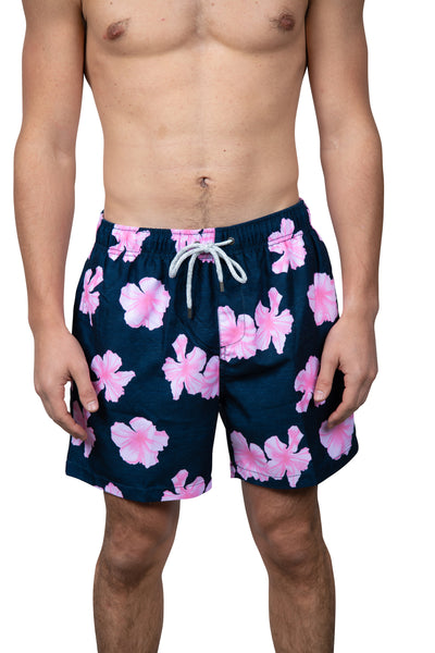 HIBISCUS FLORAL SWIM SHORTS - NAVY