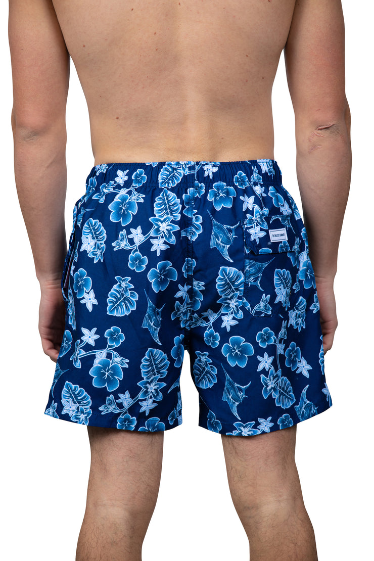 MARLIN & FLOWER SWIM SHORTS - NAVY