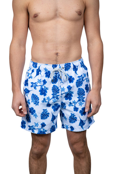 MARLIN & FLOWER SWIM SHORTS - WHITE