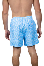 WAVE PRINT SWIM SHORTS - LT BLUE