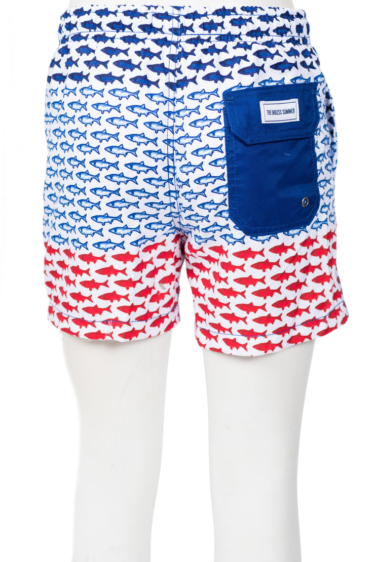 BOYS FISH SWIM SHORTS - FLAG