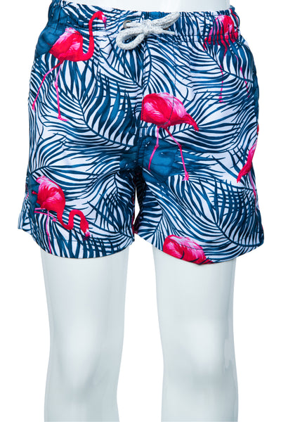 BOYS TROPICAL FLAMINGO PRINT SWIM SHORTS - DK DENIM