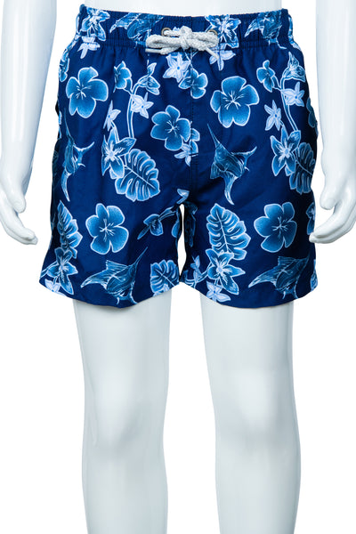 BOYS MARLIN & FLOWER PRINT SWIM SHORTS - NAVY
