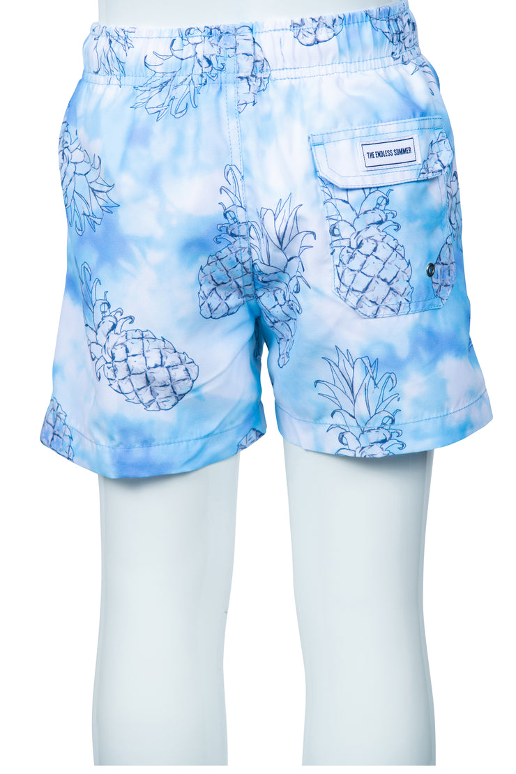 BOYS TIE DYE PINECONE SWIM SHORTS - PURPLE