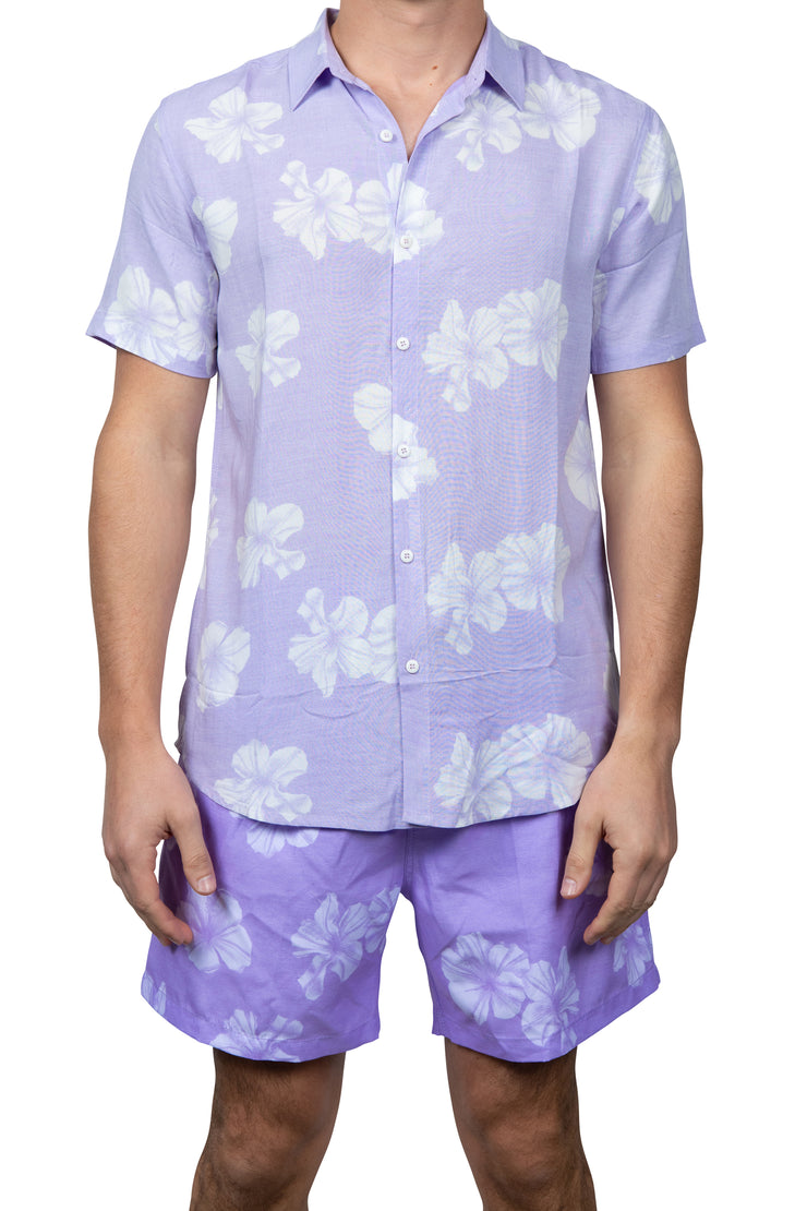 ALL OVER FLOWER BUTTON DOWN TOP - LILAC