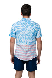 FLAG SPLATTER BUTTON DOWN TOP - BLUE