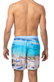 BEACH SCENE SWIM SHORTS - LT BLUE