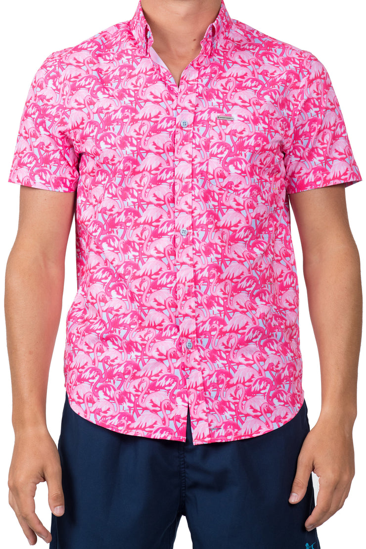 FLAMINGO BUTTON DOWN TOP - BRIGHT PINK