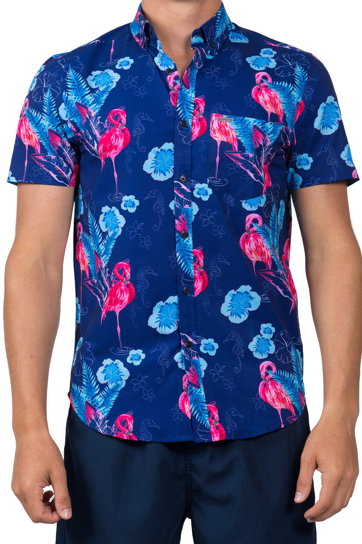 TROPICAL FLAMINGO BUTTON DOWN TOP - NAVY
