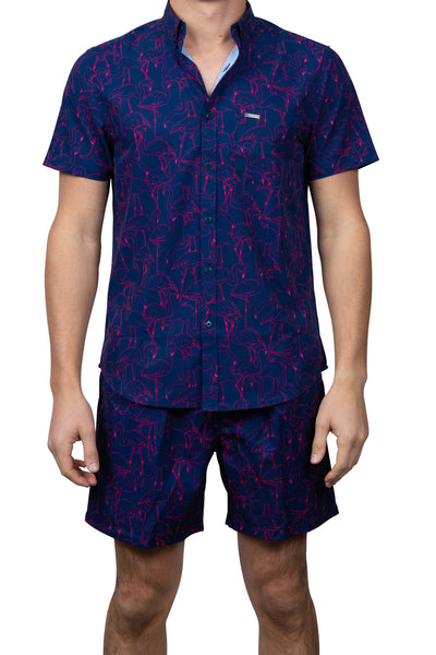 ALL OVER FLAMINGO BUTTON DOWN TOP - NAVY