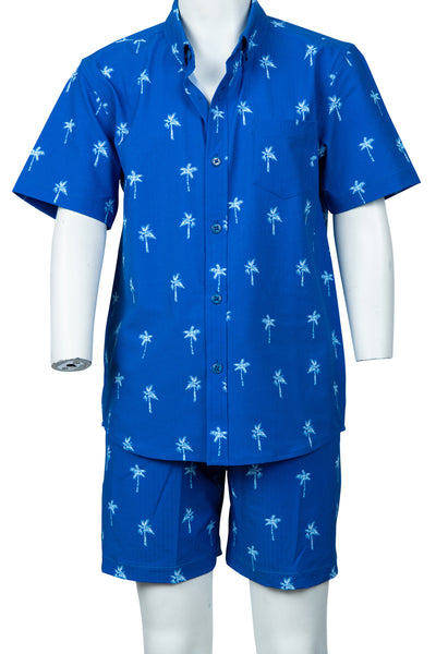 BOYS SEERSUCKER BUTTON DOWN - BEACH BLUE