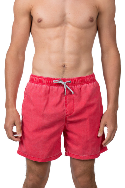VINTAGE WASH SWIM SHORTS - RED