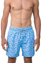 MULTI FISH SWIM SHORTS - LT BLUE
