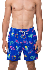 NAUTICAL NEON SWIM SHORTS - ROYAL