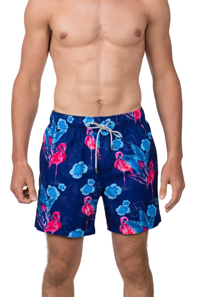 FLAMINGO AND FLORAL SWIM SHORTS - NAVY