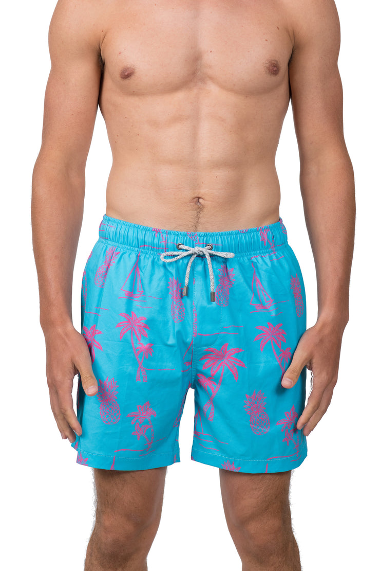 EMBROIDERED ICON LOOK SWIM SHORTS - TURQOISE