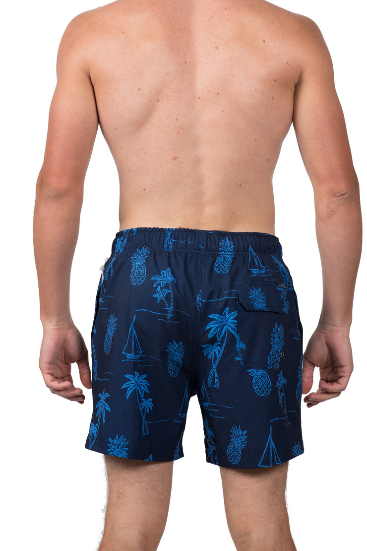 EMBROIDERED ICON LOOK SWIM SHORTS - NAVY