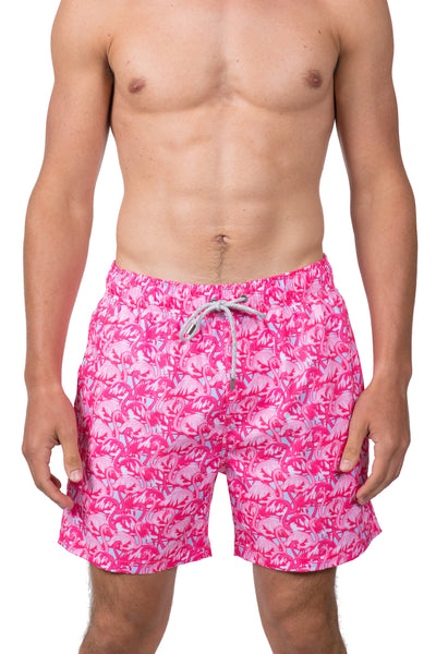 FLAMINGO SWIM SHORTS - BRIGHT PINK