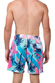 RETRO PRINT SWIM SHORTS - TURQOISE