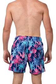 PALM TREE PRINT SWIM SHORTS - NAVY