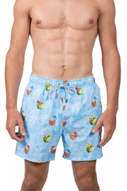 COCUNUT SWIM SHORTS - LT BLUE
