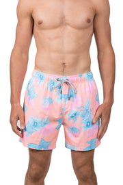FISH AND FLOWER SWIM SHORTS - ORANGE