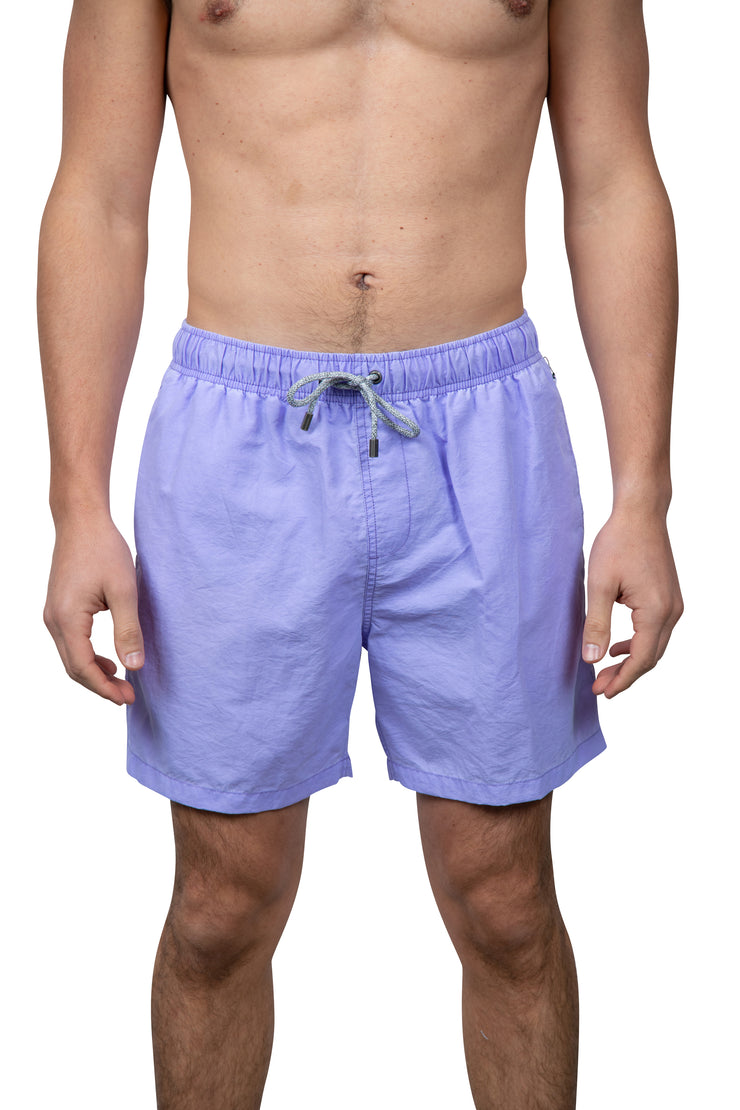 VINTAGE WASH SWIM SHORTS - LILAC