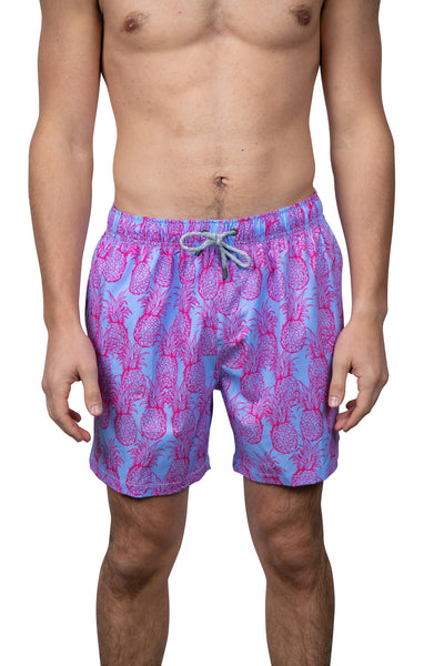EMBROIDERED SWIM SHORTS - PERIWINKLE