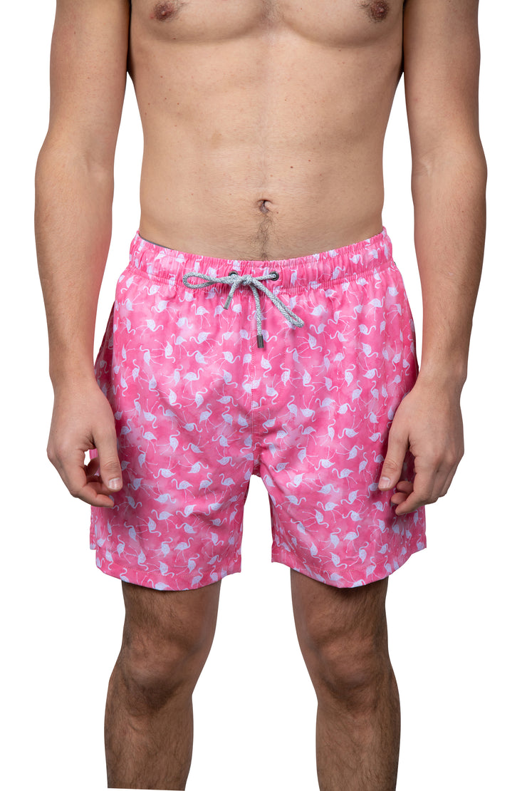 DITSY FLAMINGO SWIM SHORTS - CORAL