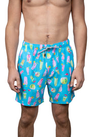 COCONUT & COCKTAIL SWIM SHORTS - BRIGHT AQUA