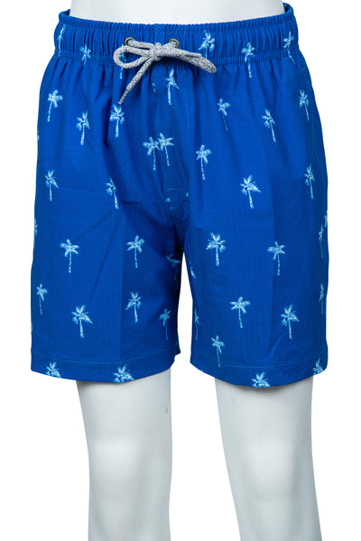 BOYS SEERSUCKER SWIM SHORTS - BEACH BLUE