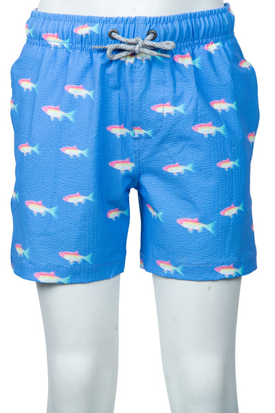 BOYS SEERSUCKER SWIM SHORTS - PERIWINKLE