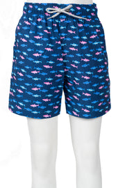 BOYS MULTI FISH SWIM SHORTS - NAVY
